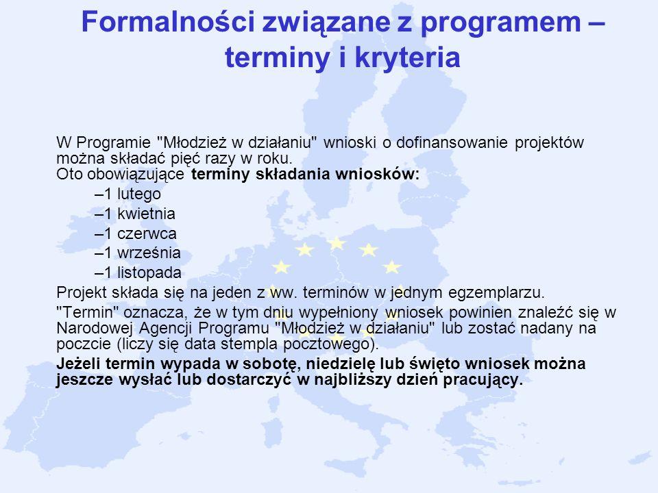 Formalności związane z programem – terminy i kryteria