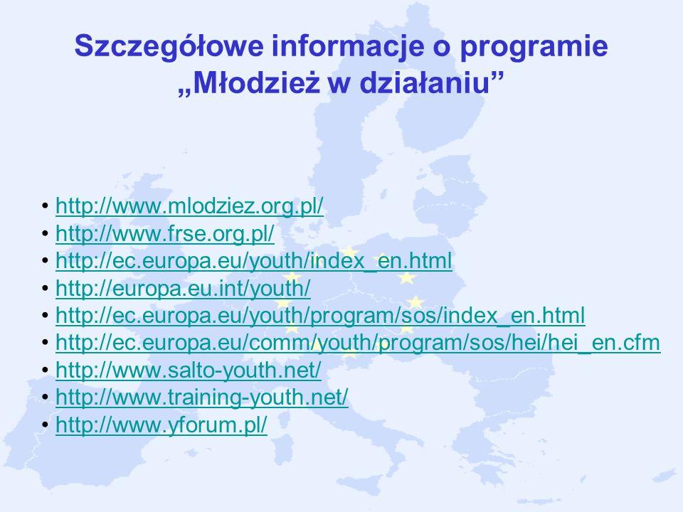 """Szczegółowe informacje o programie """"Młodzież w działaniu"""