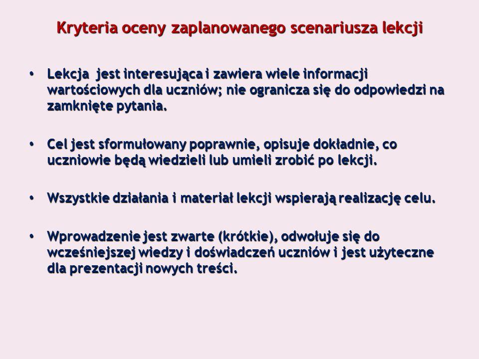 Kryteria oceny zaplanowanego scenariusza lekcji