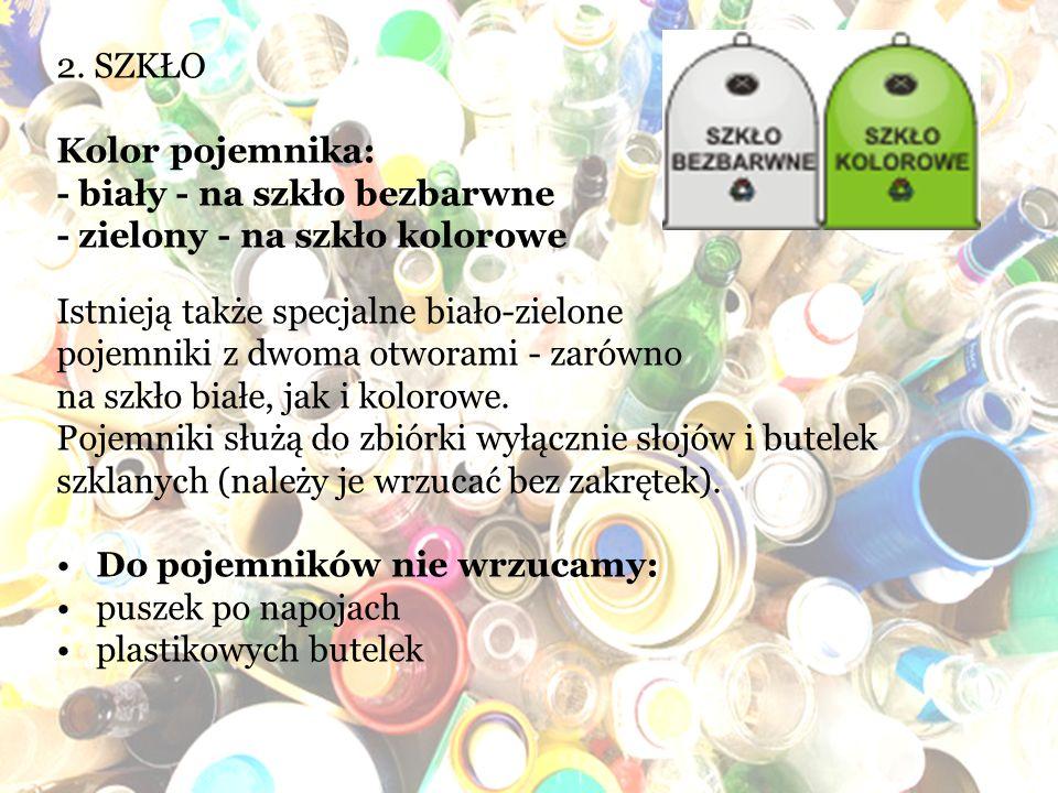 2. SZKŁO Kolor pojemnika: - biały - na szkło bezbarwne. - zielony - na szkło kolorowe. Istnieją także specjalne biało-zielone.
