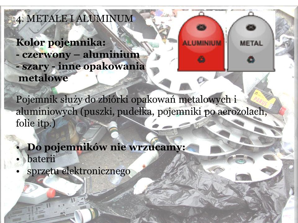 4. METALE I ALUMINUM Kolor pojemnika: - czerwony – aluminium. - szary - inne opakowania. metalowe.