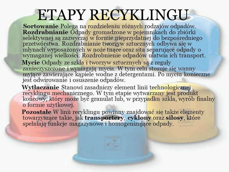 ETAPY RECYKLINGU