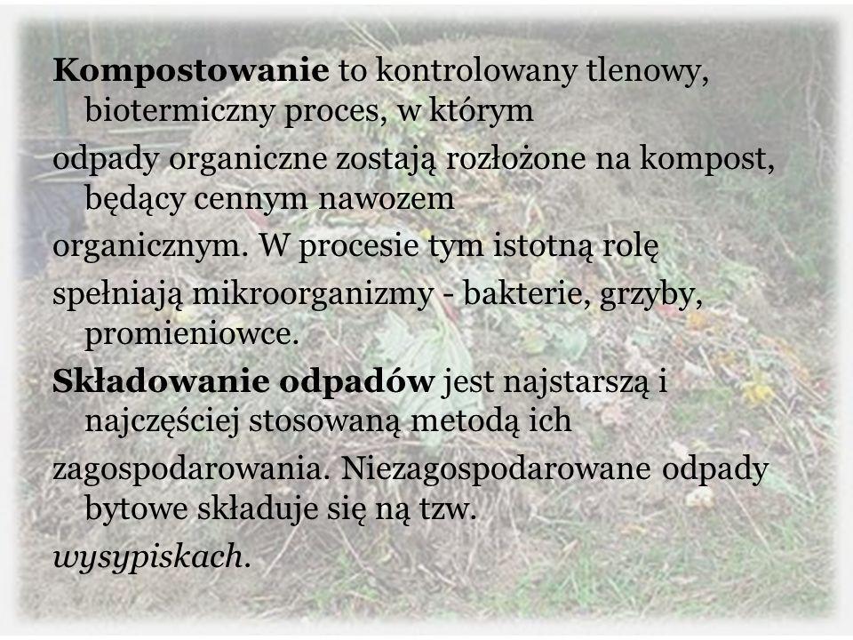 Kompostowanie to kontrolowany tlenowy, biotermiczny proces, w którym