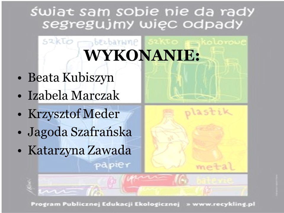 WYKONANIE: Beata Kubiszyn Izabela Marczak Krzysztof Meder