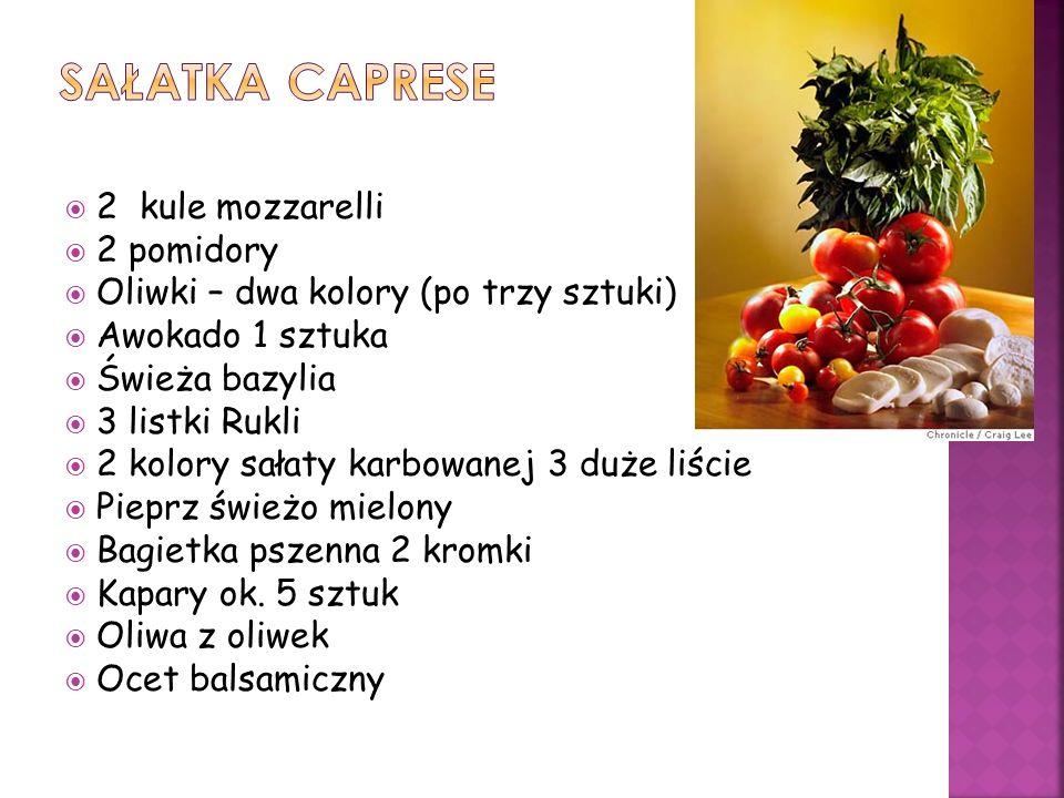 Sałatka caprese 2 kule mozzarelli 2 pomidory