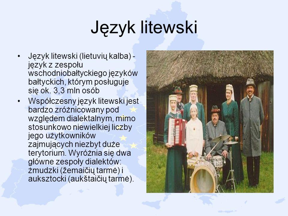 Język litewski Język litewski (lietuvių kalba) - język z zespołu wschodniobałtyckiego języków bałtyckich, którym posługuje się ok. 3,3 mln osób.
