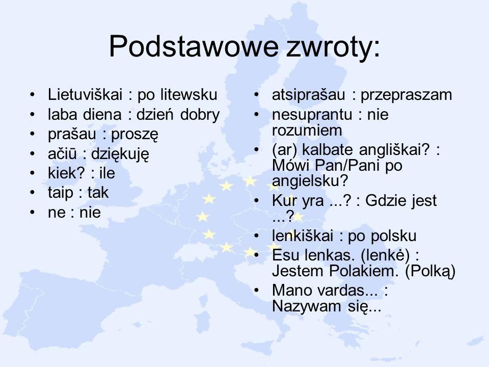 Podstawowe zwroty: Lietuviškai : po litewsku laba diena : dzień dobry