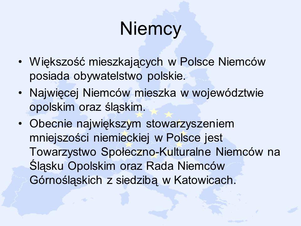 Niemcy Większość mieszkających w Polsce Niemców posiada obywatelstwo polskie. Najwięcej Niemców mieszka w województwie opolskim oraz śląskim.