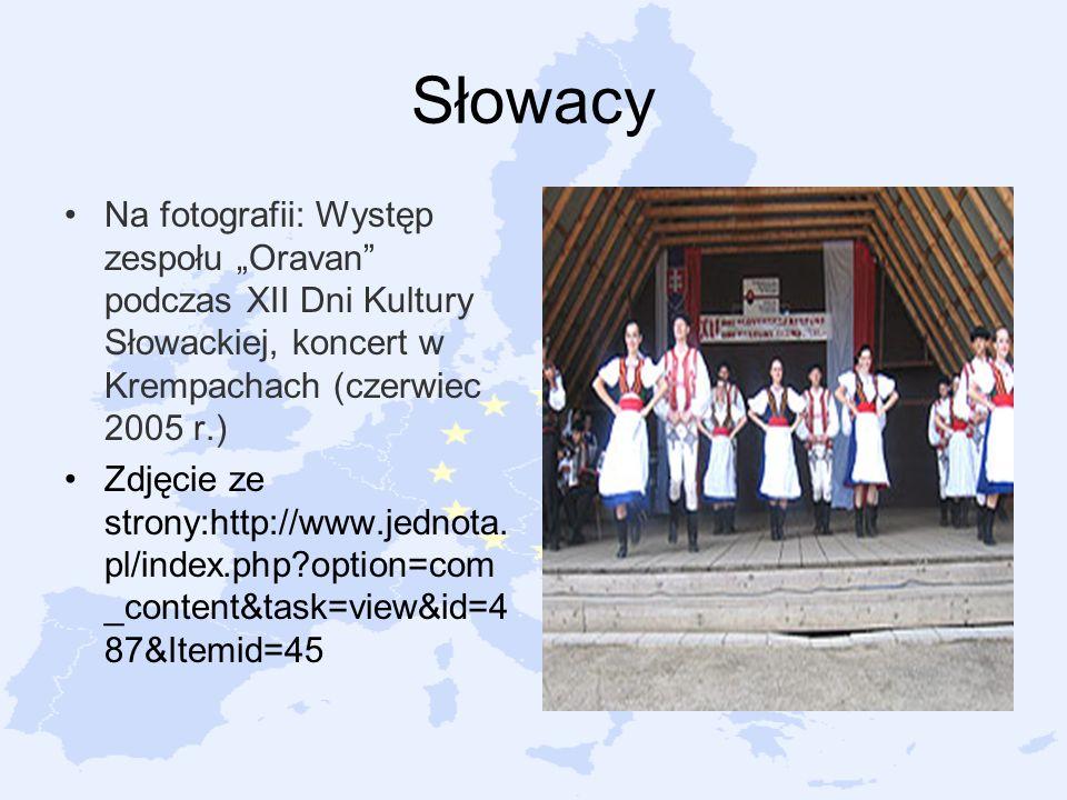 """Słowacy Na fotografii: Występ zespołu """"Oravan podczas XII Dni Kultury Słowackiej, koncert w Krempachach (czerwiec 2005 r.)"""