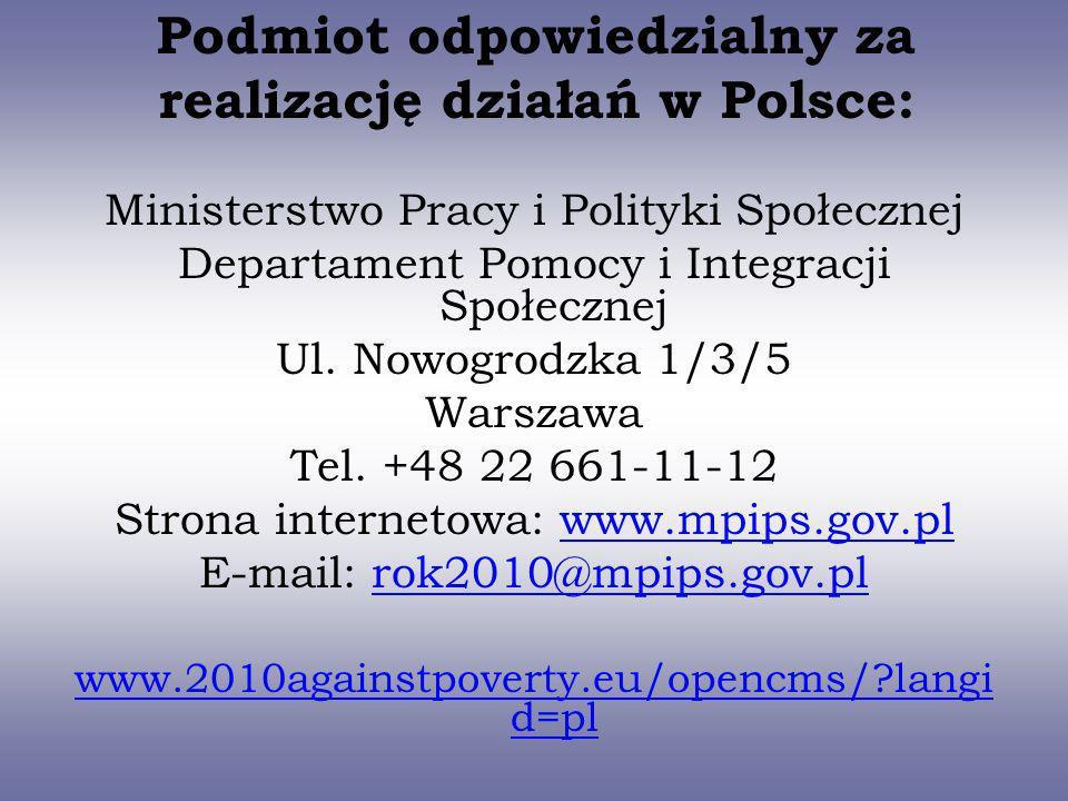 Podmiot odpowiedzialny za realizację działań w Polsce: