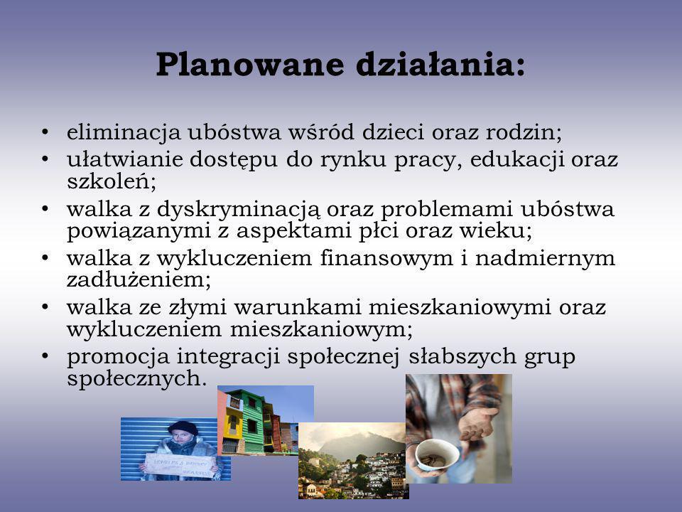 Planowane działania: eliminacja ubóstwa wśród dzieci oraz rodzin;