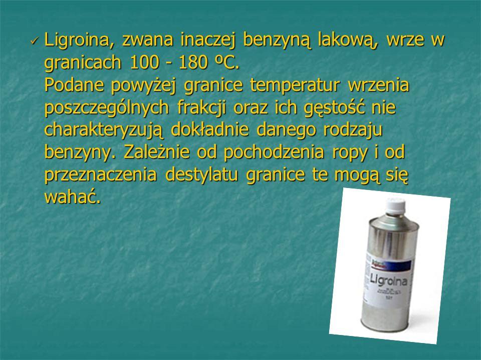 Ligroina, zwana inaczej benzyną lakową, wrze w granicach 100 - 180 ºC