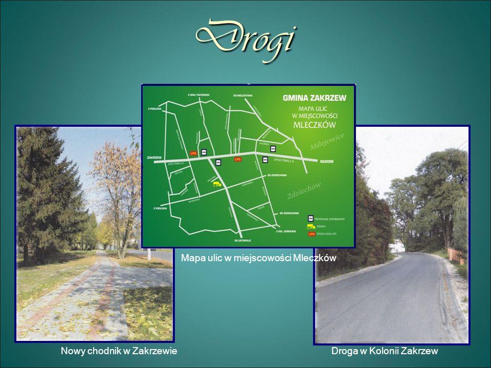 Drogi Mapa ulic w miejscowości Mleczków Nowy chodnik w Zakrzewie