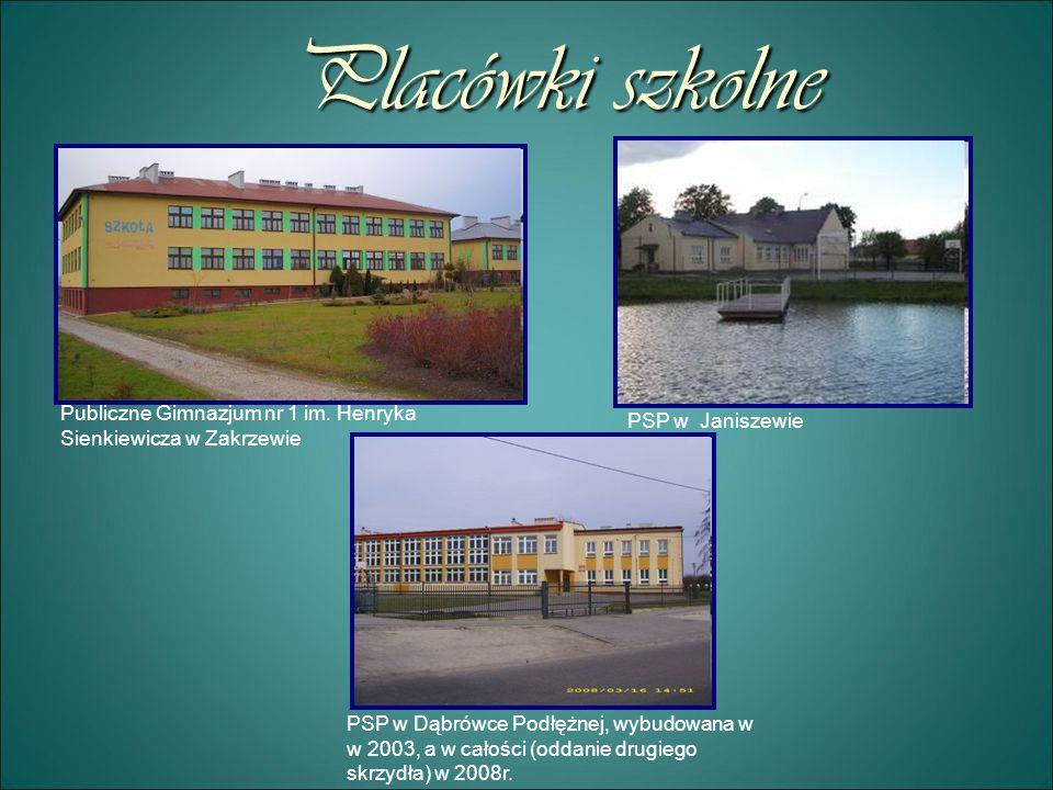 Placówki szkolnePubliczne Gimnazjum nr 1 im. Henryka Sienkiewicza w Zakrzewie. PSP w Janiszewie.