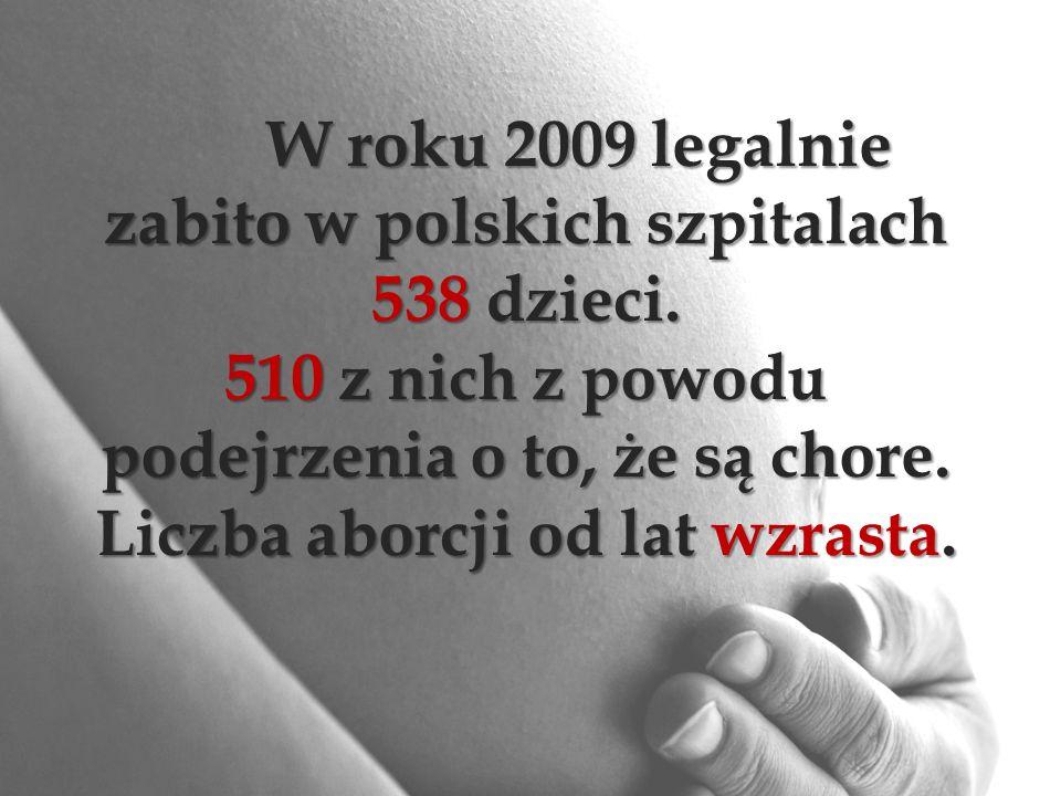 W roku 2009 legalnie zabito w polskich szpitalach 538 dzieci.