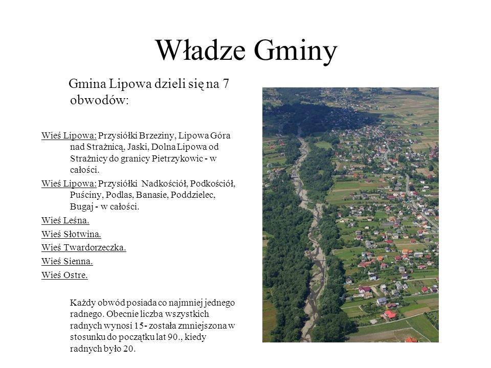 Władze Gminy Gmina Lipowa dzieli się na 7 obwodów: