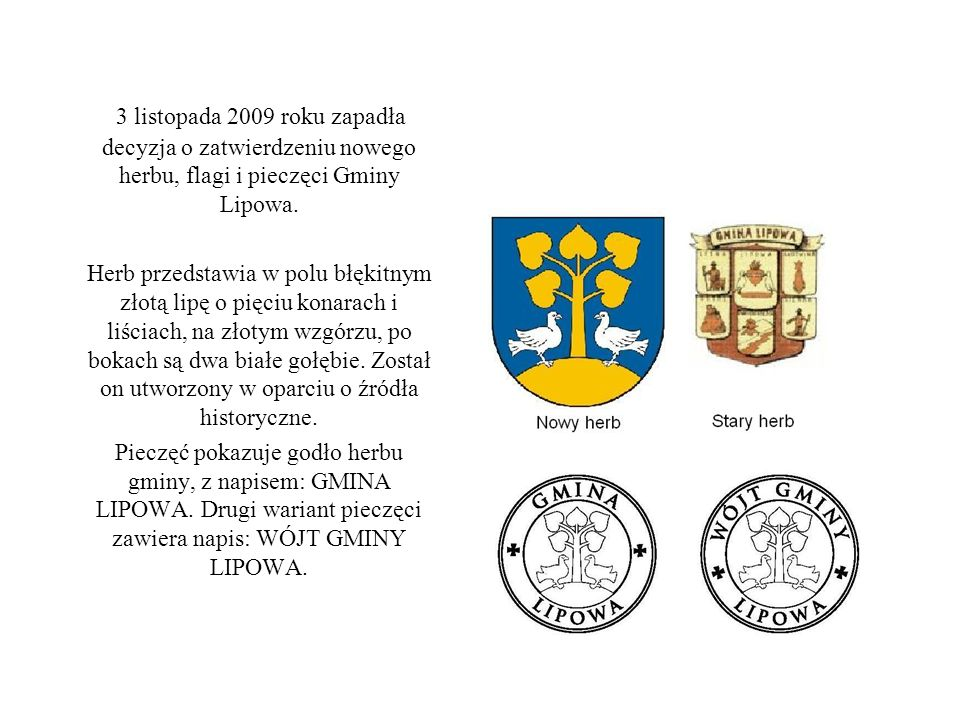 3 listopada 2009 roku zapadła decyzja o zatwierdzeniu nowego herbu, flagi i pieczęci Gminy Lipowa.