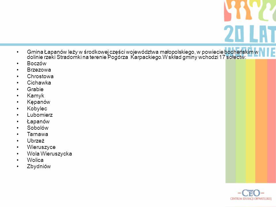 Gmina Łapanów leży w środkowej części województwa małopolskiego, w powiecie bocheńskim w dolinie rzeki Stradomki na terenie Pogórza Karpackiego.W skład gminy wchodzi 17 sołectw: