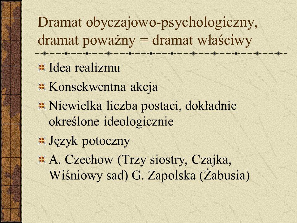 Dramat obyczajowo-psychologiczny, dramat poważny = dramat właściwy