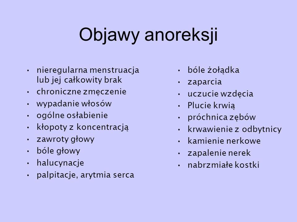 Objawy anoreksji nieregularna menstruacja lub jej całkowity brak