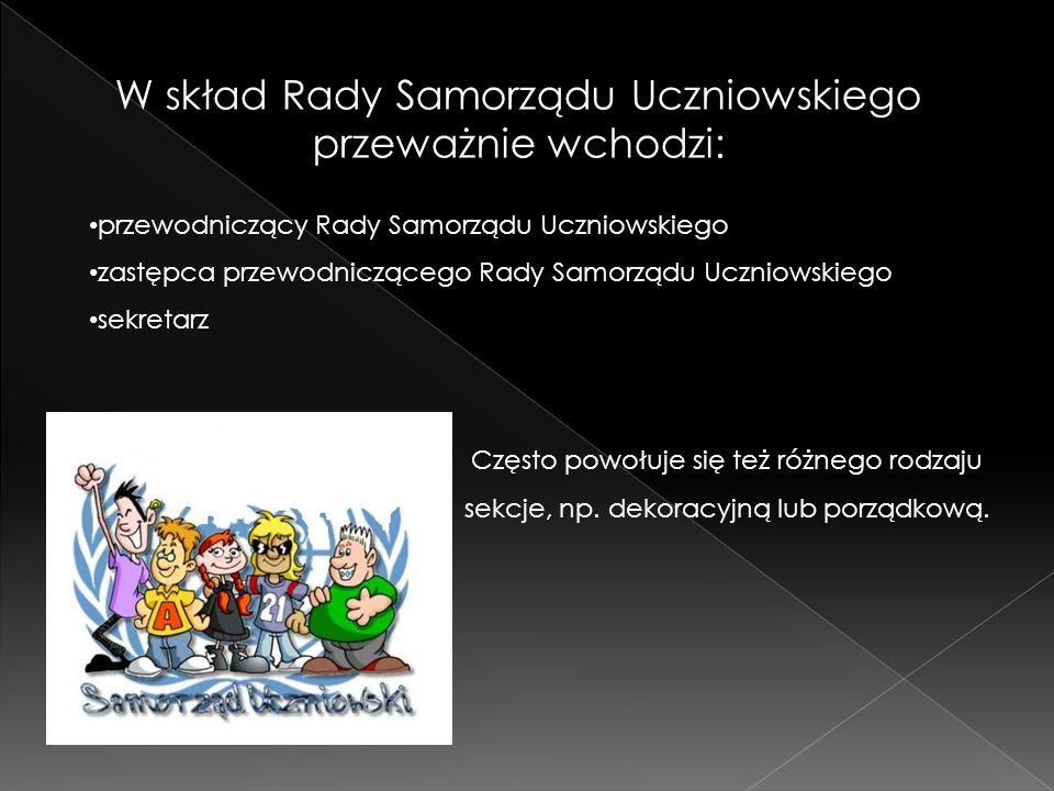 W skład Rady Samorządu Uczniowskiego przeważnie wchodzi: