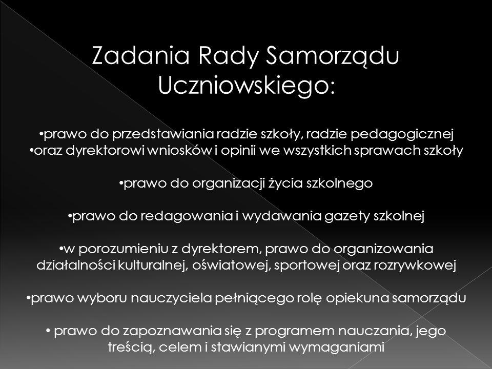 Zadania Rady Samorządu Uczniowskiego: