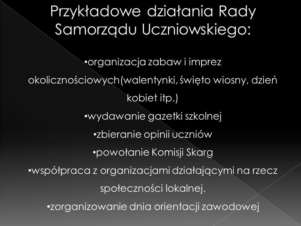 Przykładowe działania Rady Samorządu Uczniowskiego: