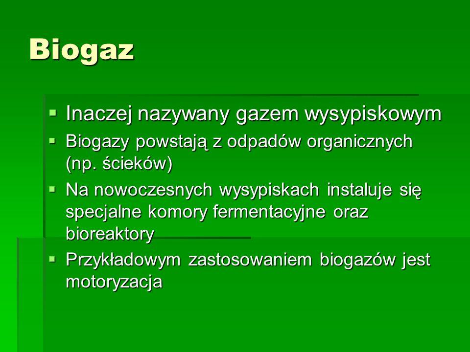 Biogaz Inaczej nazywany gazem wysypiskowym