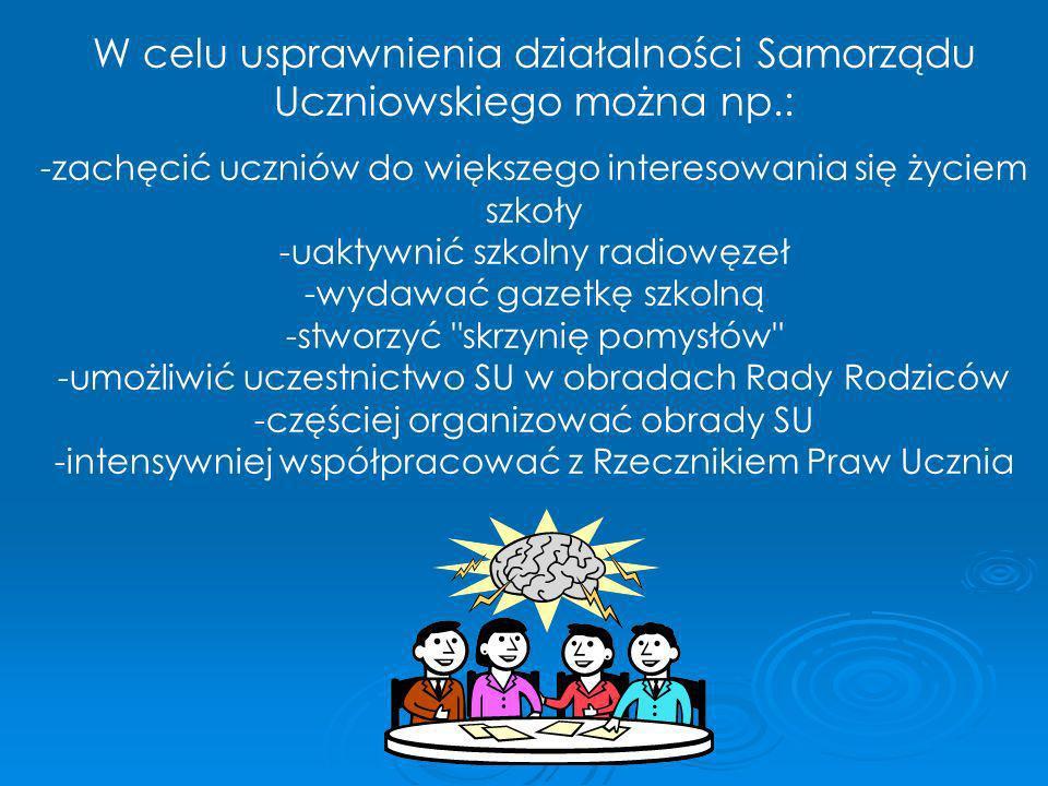 W celu usprawnienia działalności Samorządu Uczniowskiego można np.: