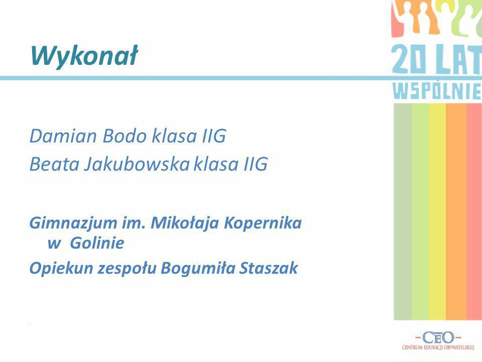 Wykonał Damian Bodo klasa IIG Beata Jakubowska klasa IIG