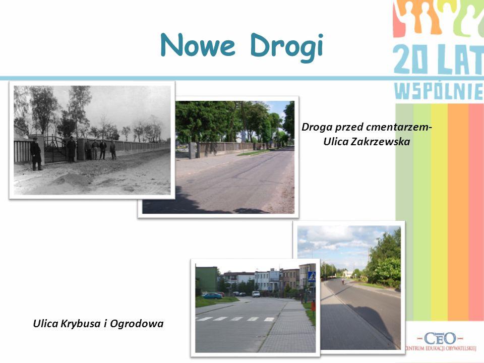 Droga przed cmentarzem- Ulica Zakrzewska Ulica Krybusa i Ogrodowa