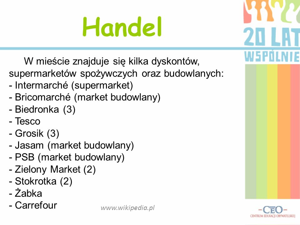 HandelW mieście znajduje się kilka dyskontów, supermarketów spożywczych oraz budowlanych: - Intermarché (supermarket)