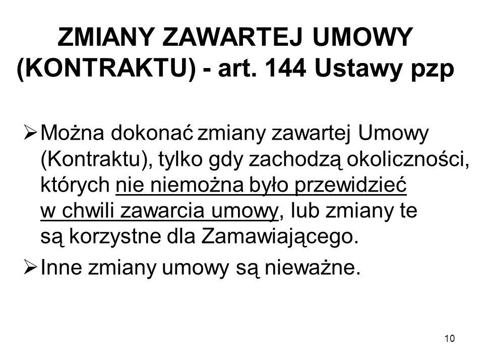 ZMIANY ZAWARTEJ UMOWY (KONTRAKTU) - art. 144 Ustawy pzp