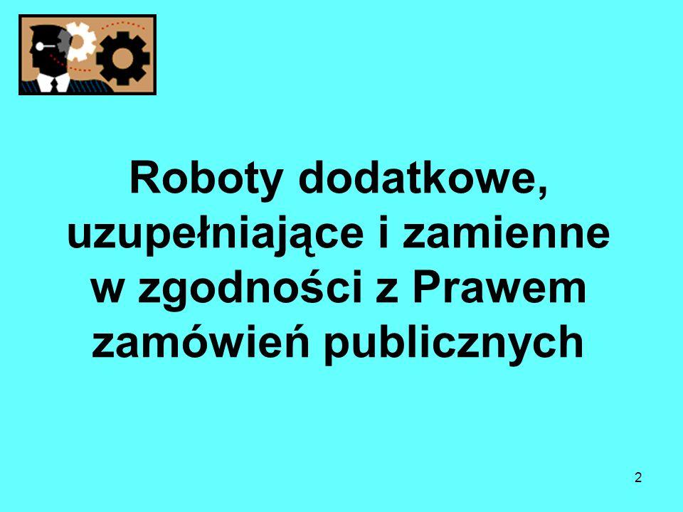Roboty dodatkowe, uzupełniające i zamienne w zgodności z Prawem zamówień publicznych