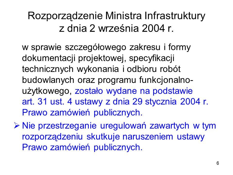 Rozporządzenie Ministra Infrastruktury z dnia 2 września 2004 r.