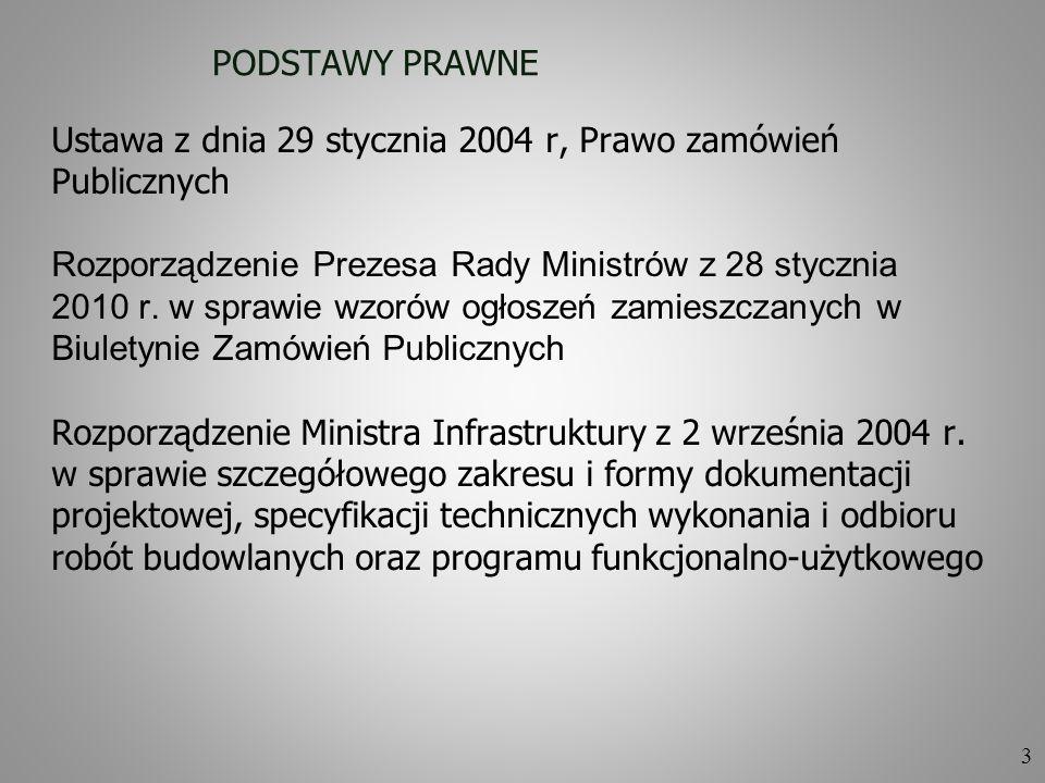 PODSTAWY PRAWNE Ustawa z dnia 29 stycznia 2004 r, Prawo zamówień. Publicznych. Rozporządzenie Prezesa Rady Ministrów z 28 stycznia.