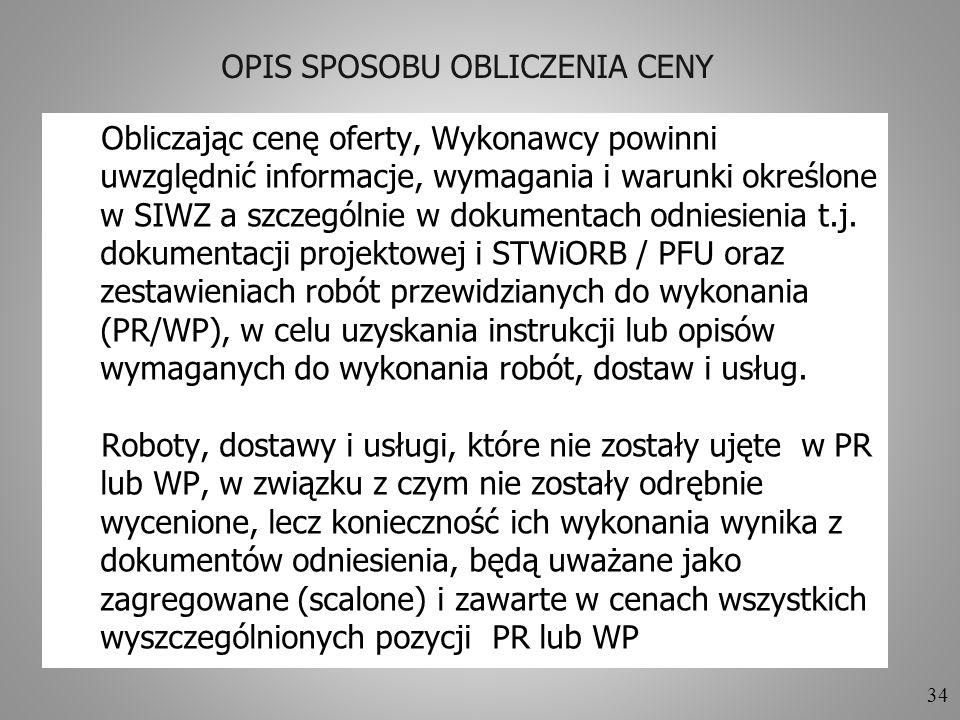 OPIS SPOSOBU OBLICZENIA CENY