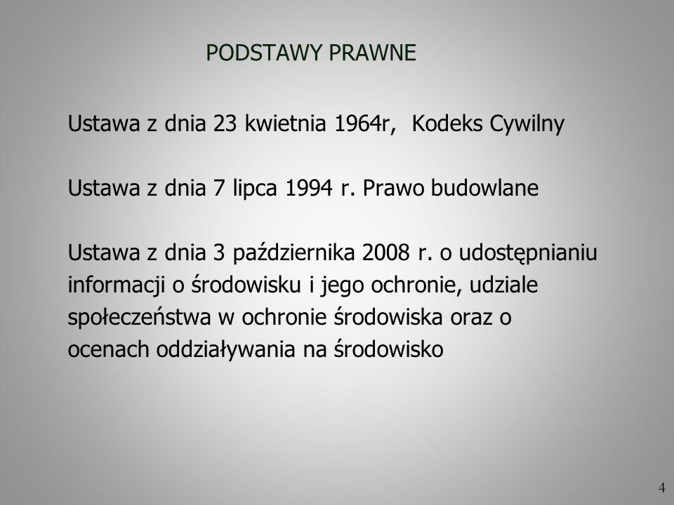 PODSTAWY PRAWNE Ustawa z dnia 23 kwietnia 1964r, Kodeks Cywilny. Ustawa z dnia 7 lipca 1994 r. Prawo budowlane.