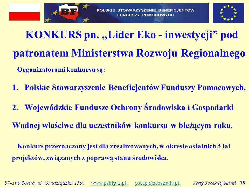 """KONKURS pn. """"Lider Eko - inwestycji pod patronatem Ministerstwa Rozwoju Regionalnego"""