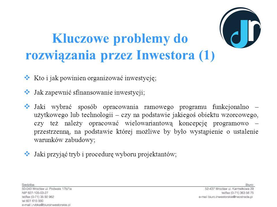 Kluczowe problemy do rozwiązania przez Inwestora (1)