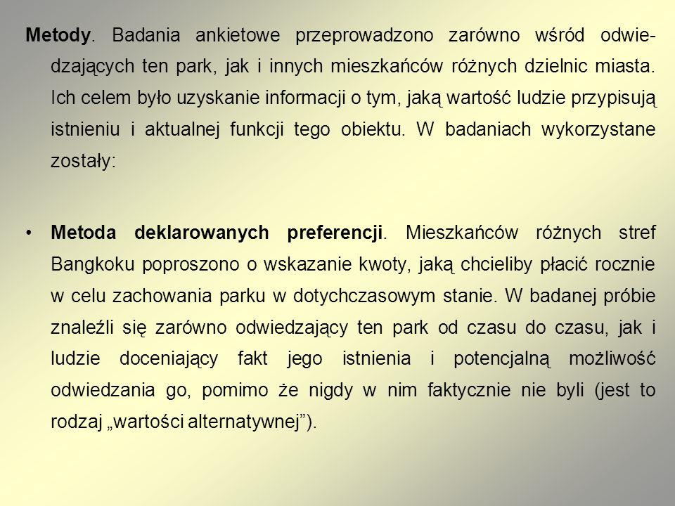 Metody. Badania ankietowe przeprowadzono zarówno wśród odwiedzających ten park, jak i innych mieszkańców różnych dzielnic miasta. Ich celem było uzyskanie informacji o tym, jaką wartość ludzie przypisują istnieniu i aktualnej funkcji tego obiektu. W badaniach wykorzystane zostały: