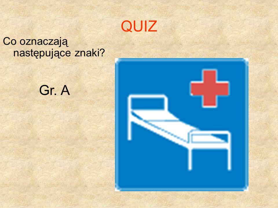 QUIZ Co oznaczają następujące znaki Gr. A