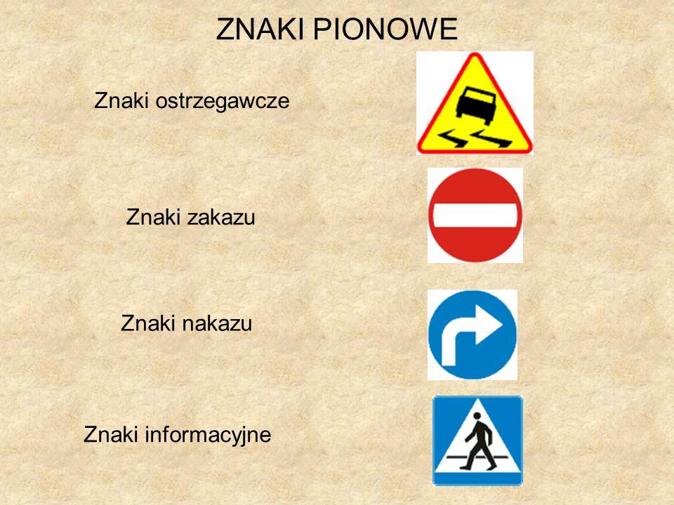 ZNAKI PIONOWE Znaki ostrzegawcze Znaki zakazu Znaki nakazu