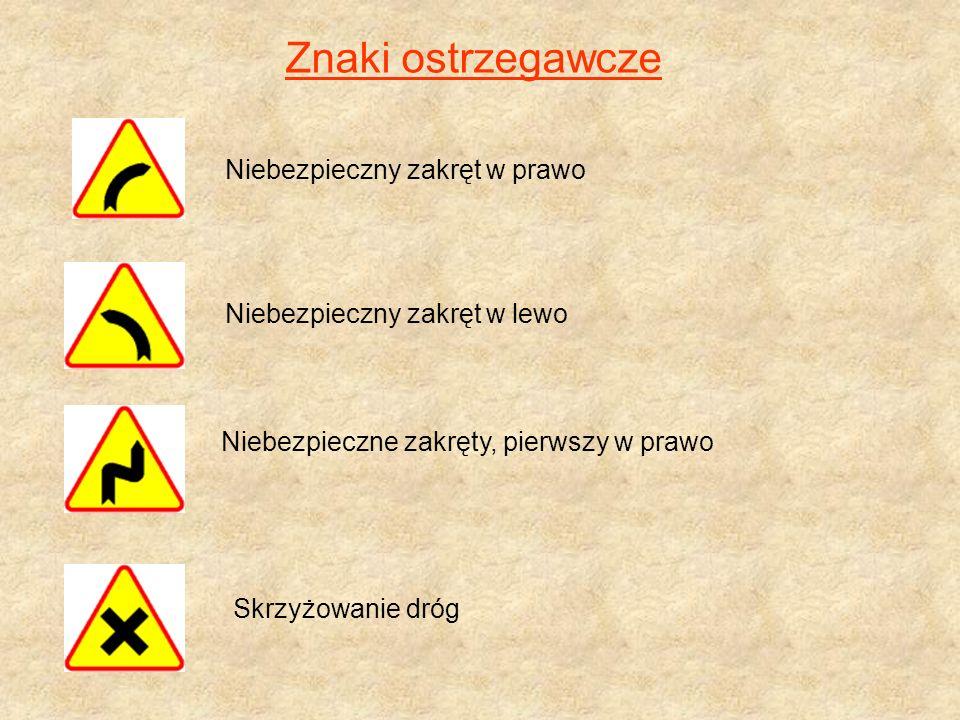 Znaki ostrzegawcze Niebezpieczny zakręt w prawo