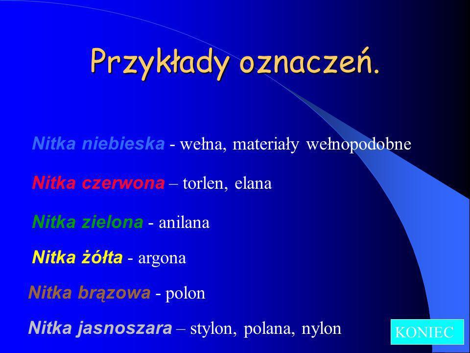 Przykłady oznaczeń. Nitka niebieska - wełna, materiały wełnopodobne