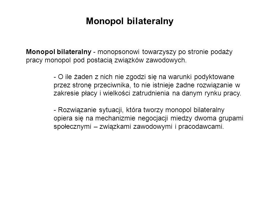 Monopol bilateralny Monopol bilateralny - monopsonowi towarzyszy po stronie podaży pracy monopol pod postacią związków zawodowych.
