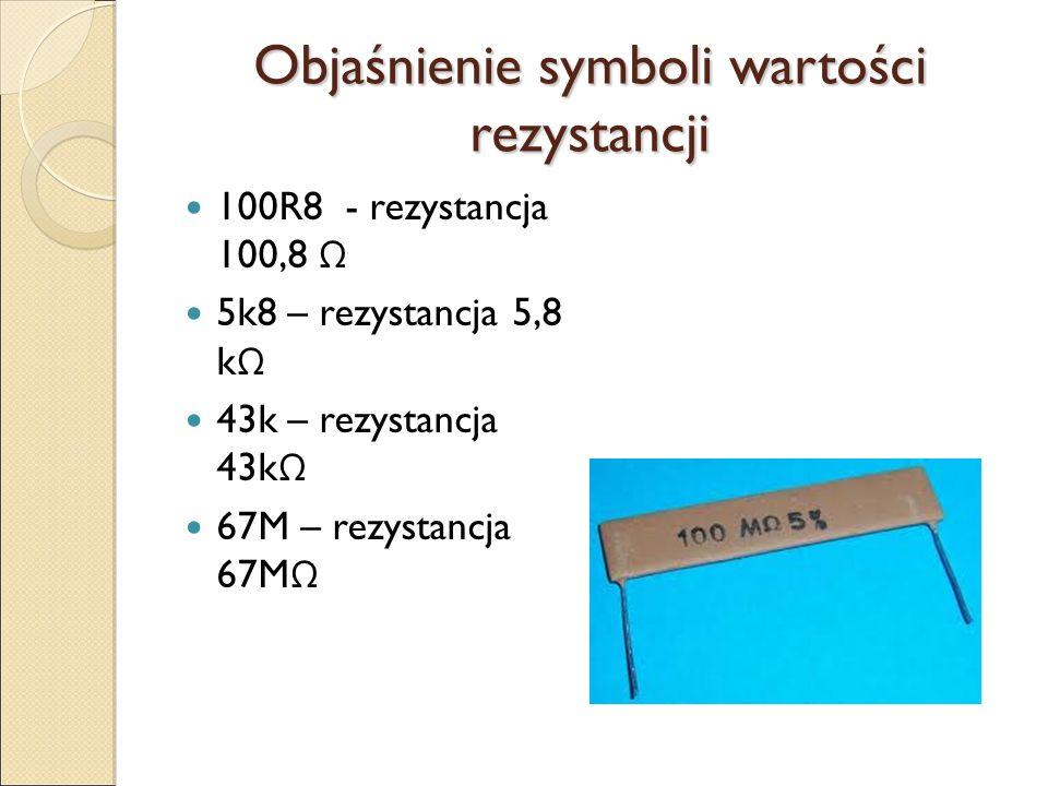 Objaśnienie symboli wartości rezystancji