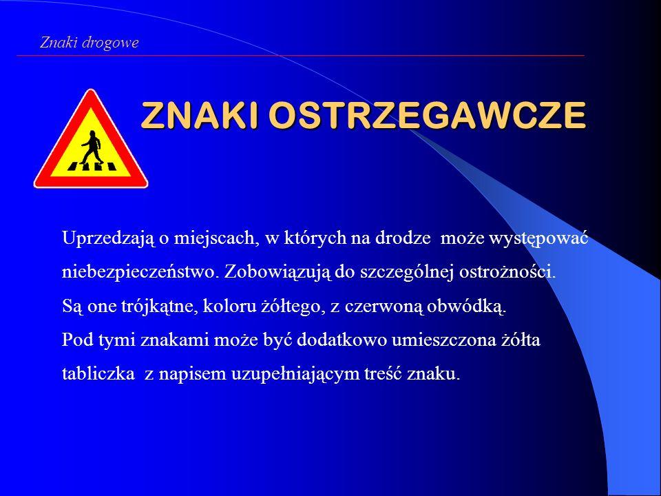Znaki drogowe ZNAKI OSTRZEGAWCZE.