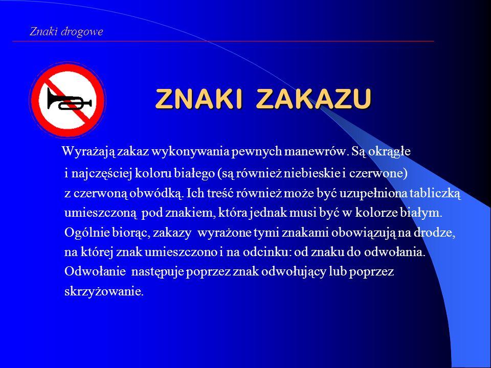 Znaki drogowe ZNAKI ZAKAZU.