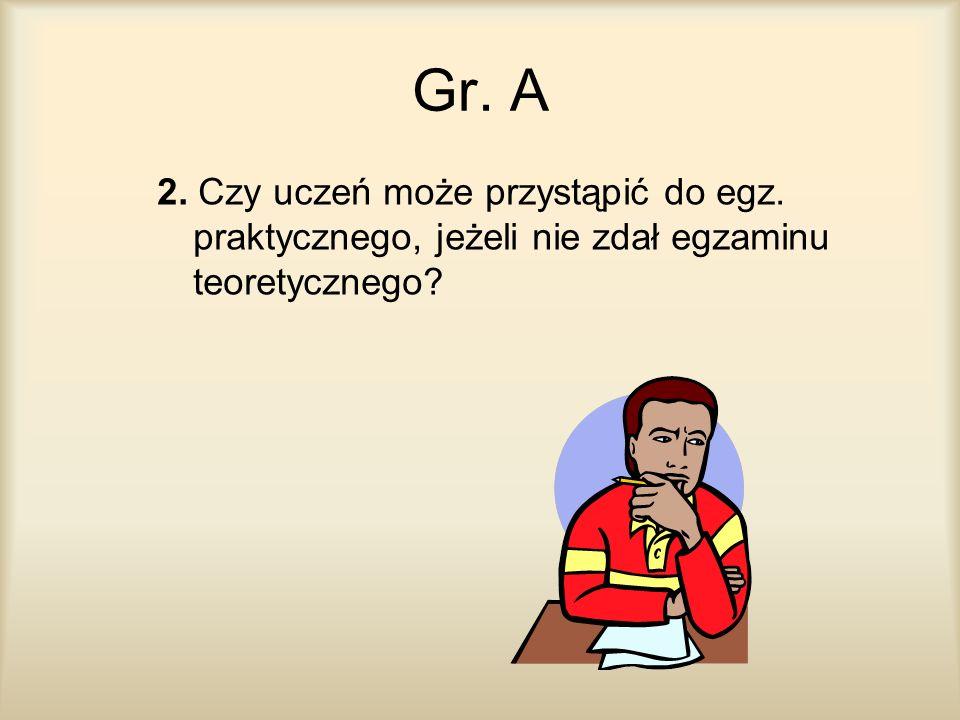 Gr. A 2. Czy uczeń może przystąpić do egz. praktycznego, jeżeli nie zdał egzaminu teoretycznego